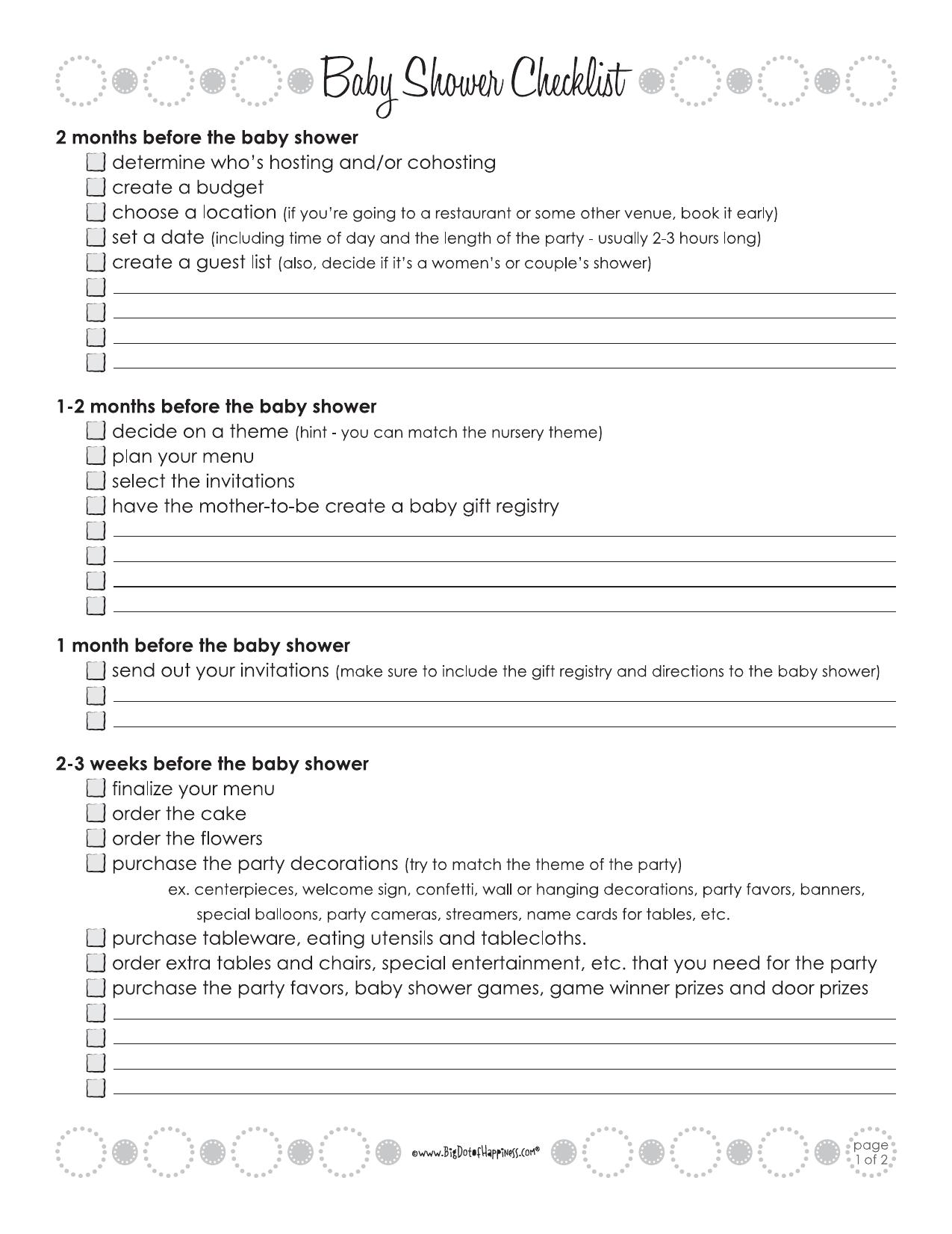 Download Baby Shower Checklist Template