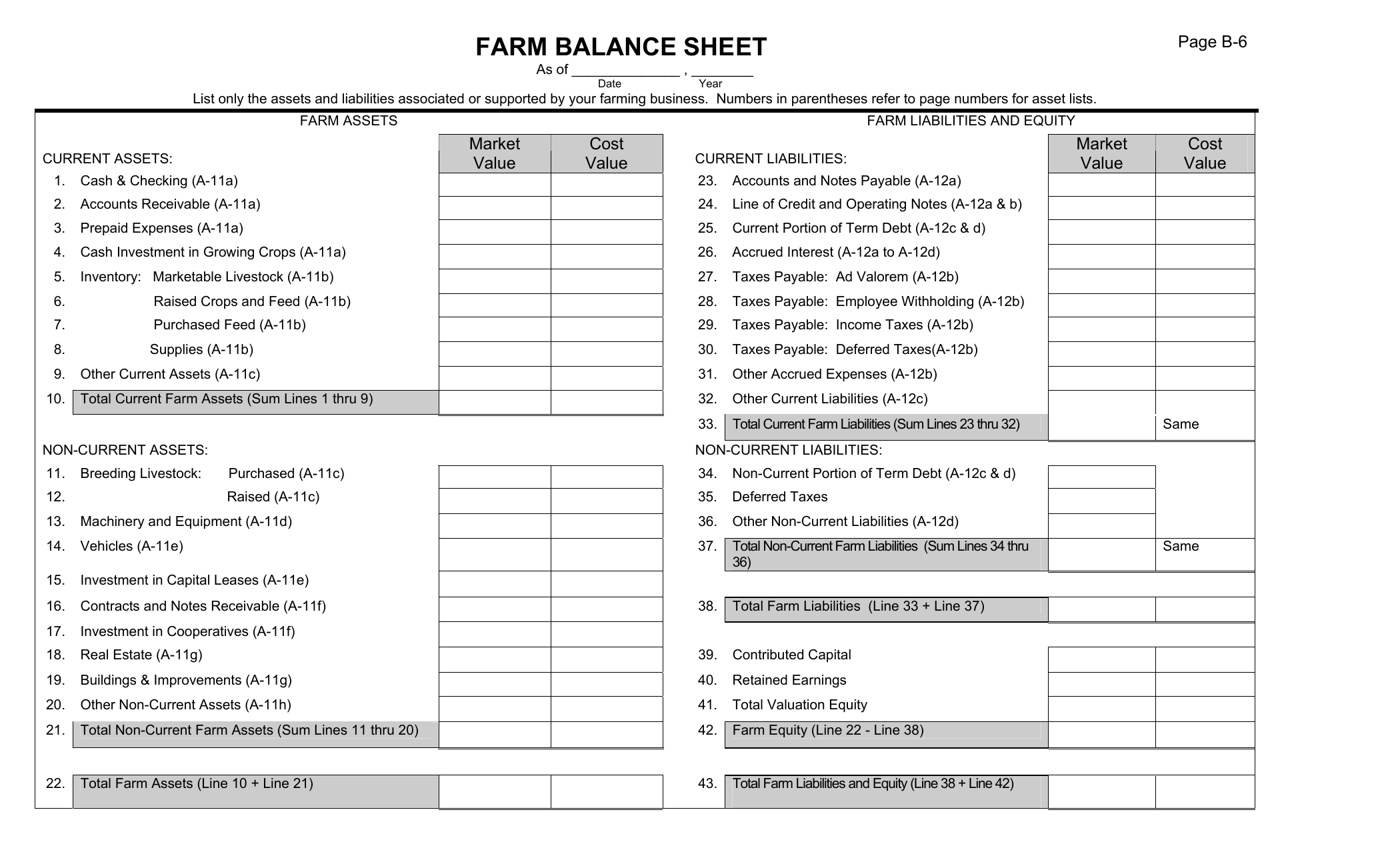 Download Farm Balance Sheet Template