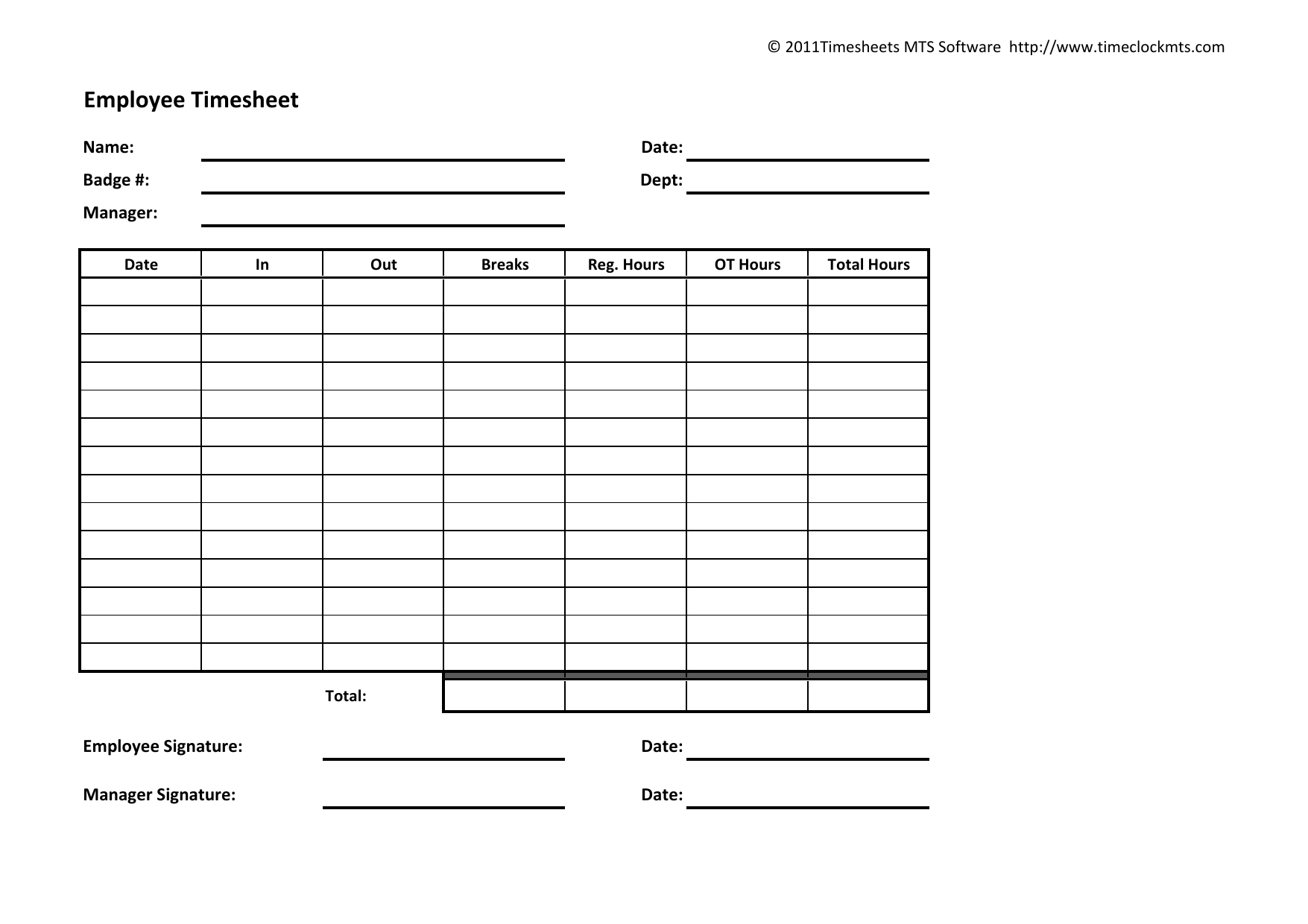 Download Weekly Timesheet Template