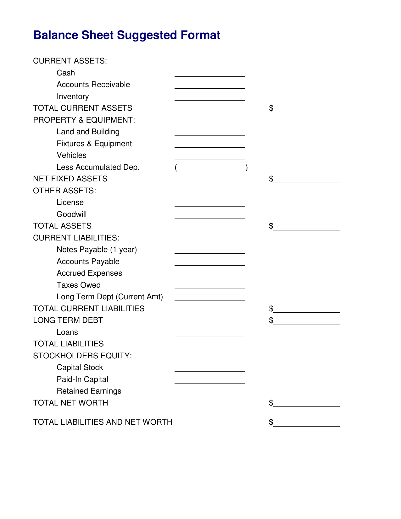 Download Simple Balance Sheet Template
