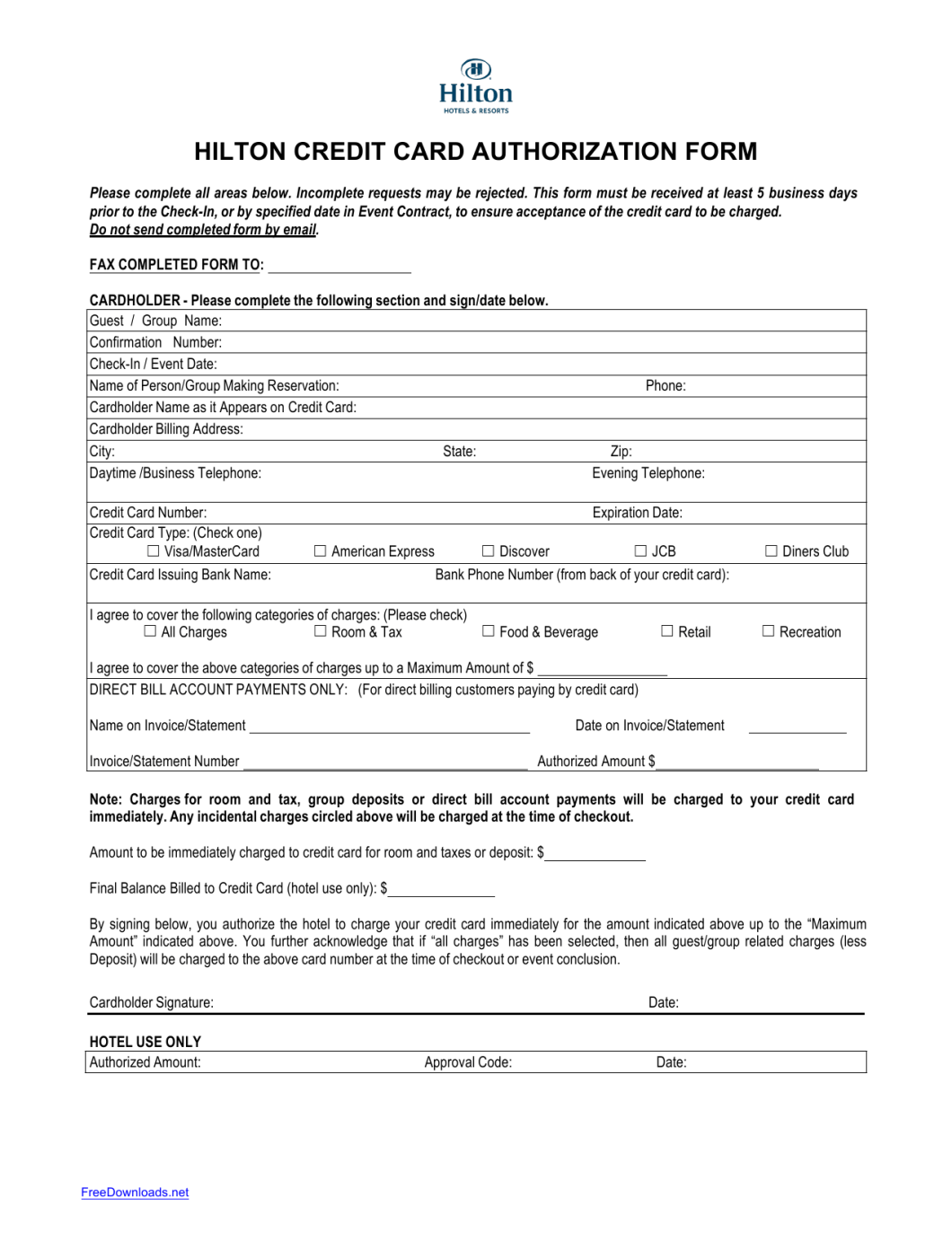 hilton credit card authorization form inviletter co
