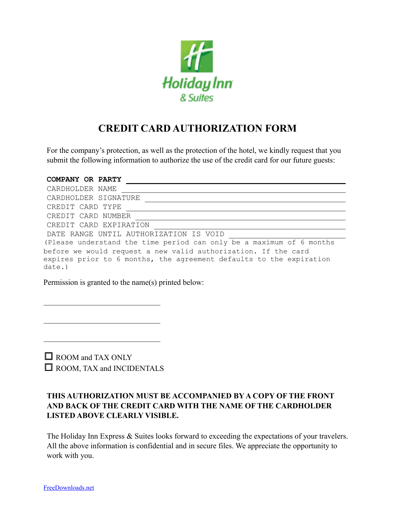 Download Holiday Inn Credit Card Authorization Form Template PDF Word