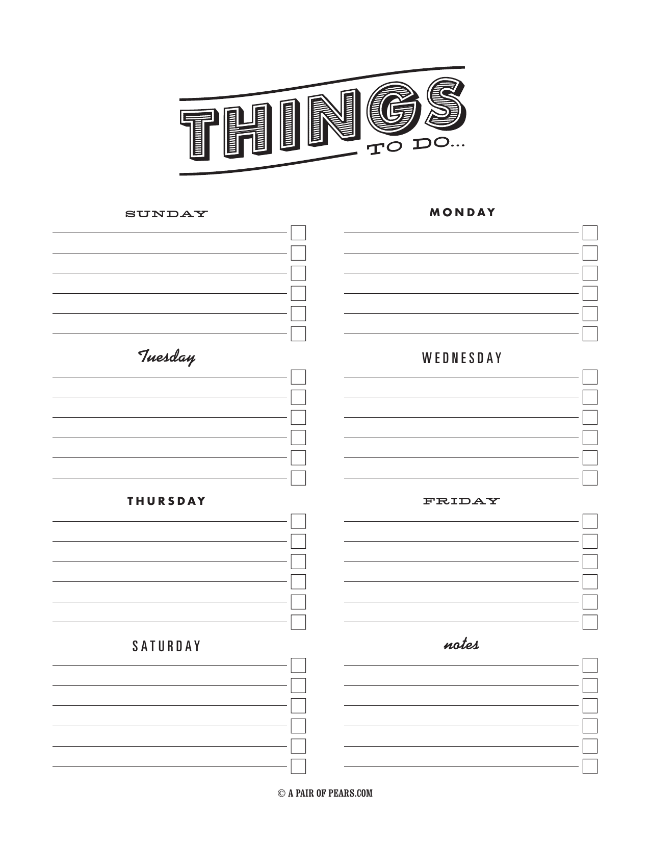 Download Weekly Checklist Template