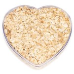 A heart shaped bowl of oatmeal.