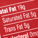 A red nutrition label displaying fat content.