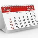 A calendar showing July 2010.