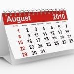 A calendar showing August 2010.