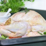 A raw turkey in a roasting tin with a selection of vegetables.