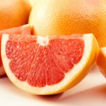 A chopped, red grapefruit.
