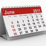 A calendar showing June 2011.