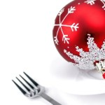 A fork next to a Christmas bauble on a plate.