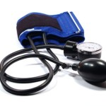 A blue blood pressure monitor.