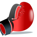 A red cartoon boxing glove.