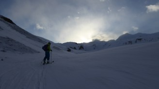 On skis at 7.26am