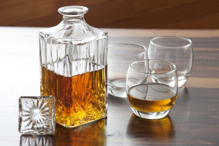 Whiskey Decanter With Glasses Free Stock Image