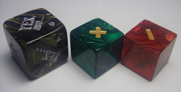 Vagrant Workshop FU Dice Set - yes, no, and, but dice