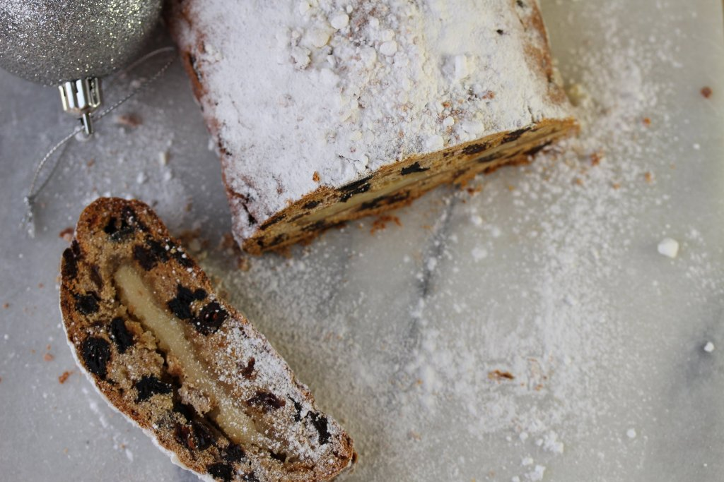 Gluten free dairy free stollen made with wholegrain gluten free flour