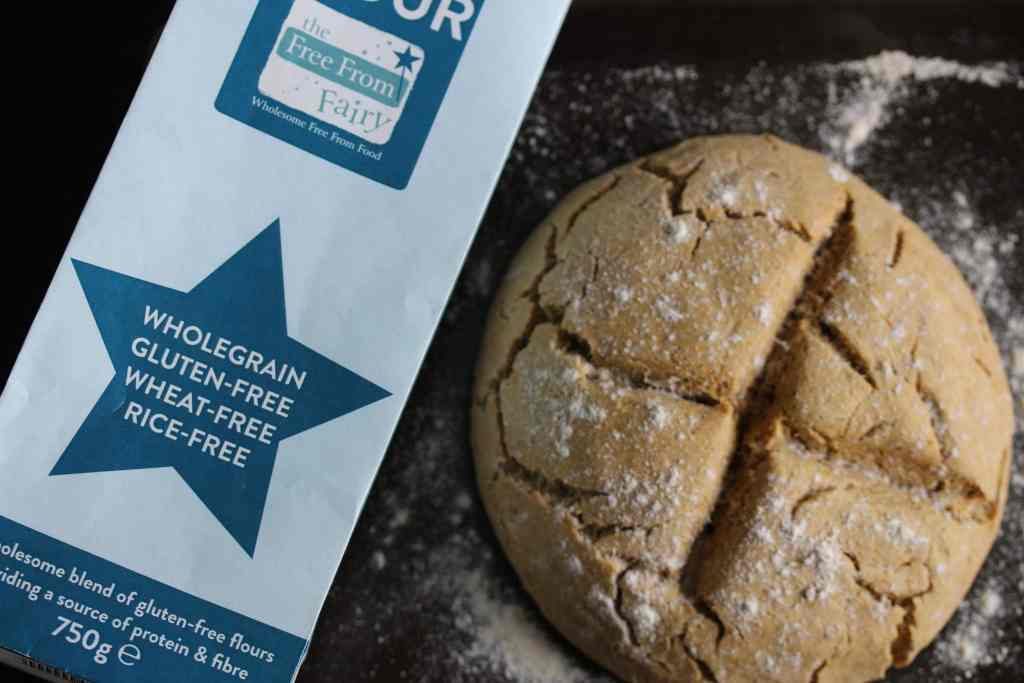 Easy to make gluten-free soda bread that is also dairy-free and egg-free. Made with the Free From Fairy wholegrain gluten free flour it is full of nutritious whole grains too