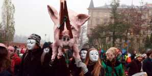 Burning Pig Effigy Protests Factory Farm on Former Nazi Camp