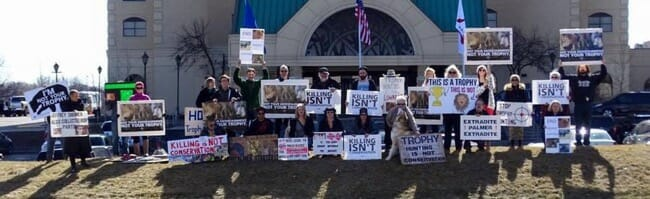 Grassroots groups Minnesota Animal Liberation and Animal Rights Coalition protesting the 41st Annual Minnesota World Hunting Expo on February 27, 2016