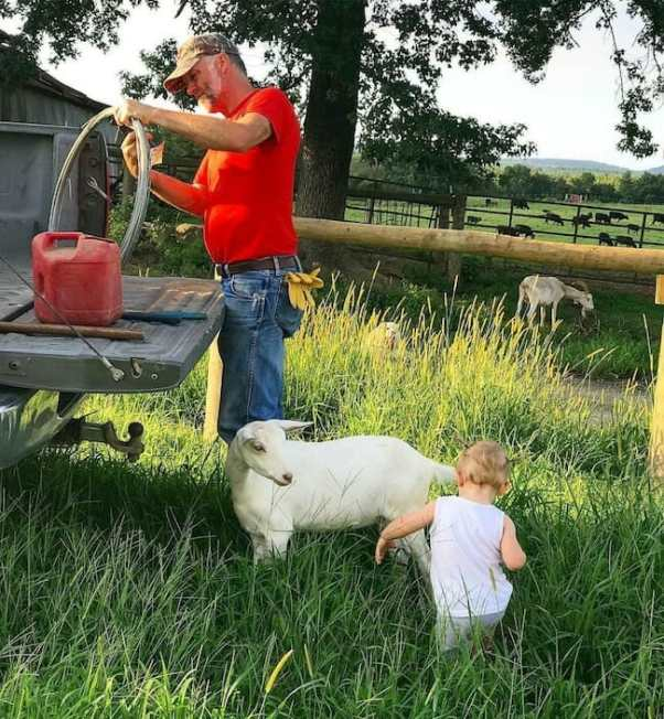 child interacting with goat