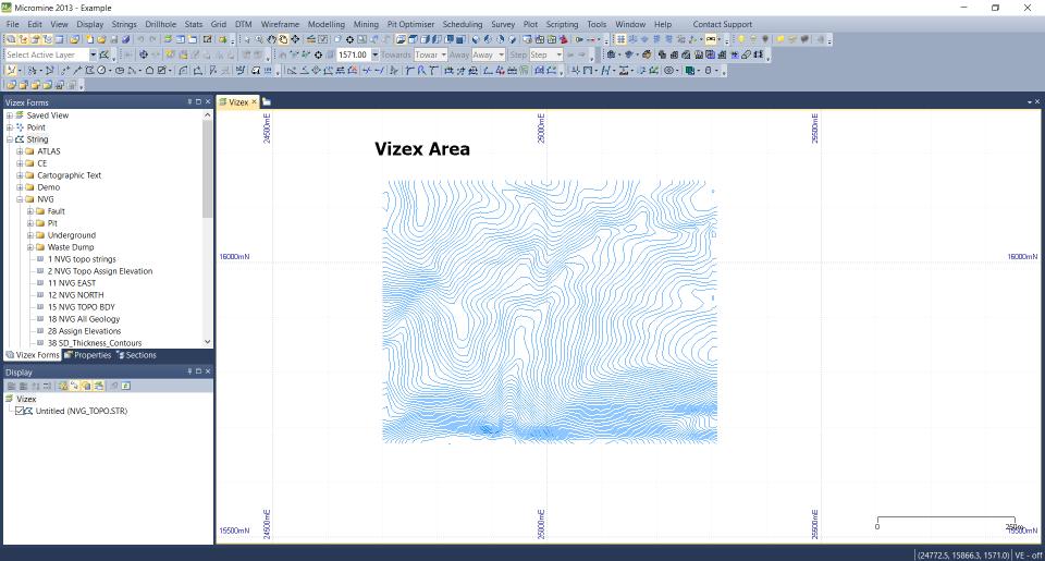 display string file in micromine