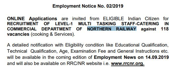 Northern Railway Recruitment MTS
