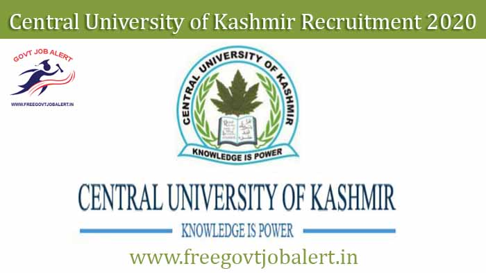 Central University of Kashmir Recruitment 2020