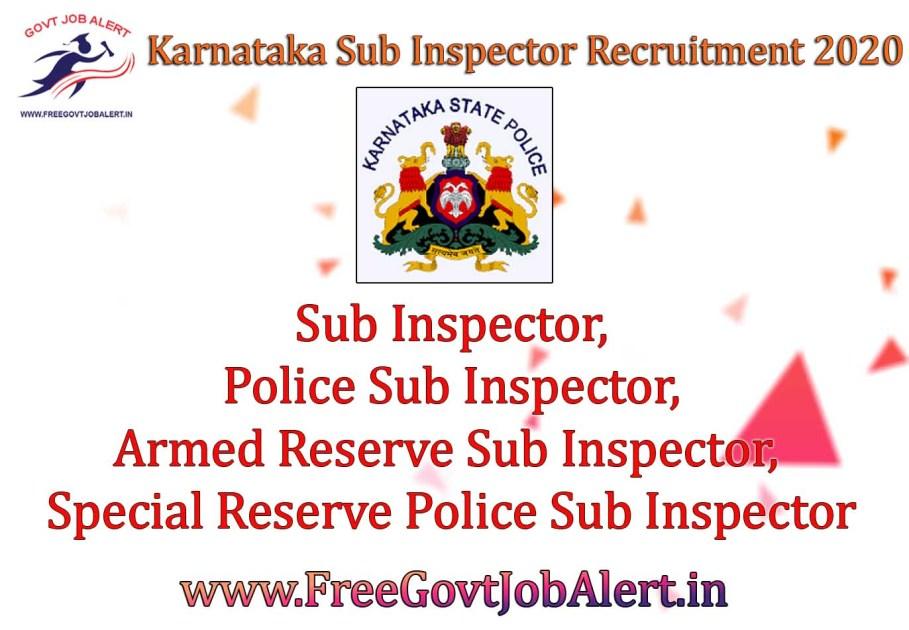 Karnataka Sub Inspector Recruitment 2020