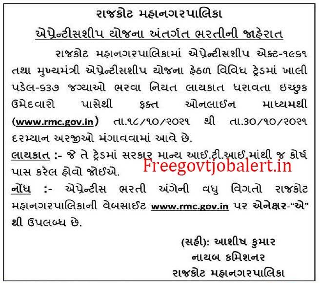 Rajkot RMC 637 Apprentice Jobs 2021 For Wireman, Computer Operator, Fitter & Other Posts