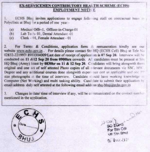 ECHS Bhuj Recruitment For Various Vacancy 2020