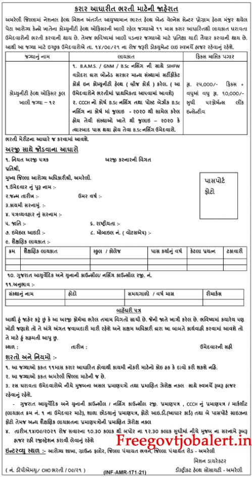 DHS District Health Society Amreli Recruitment 2021 - 12 Community Health Officer Posts