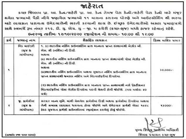 District Panchayat Kutch-Bhuj Jobs For Midwifery & Junior Pharmacist 2020