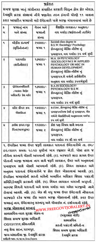 Social Security Department Gandhinagar Recruitment 2021 - Store Keeper Cum Accountant & Other Posts