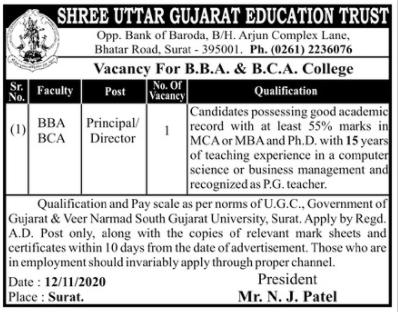 Shree Uttar Gujarat Education Trust Recruitment 2020 For Principal Director