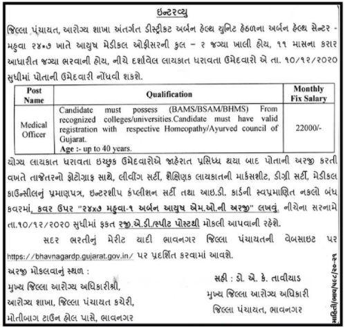 District Panchayat Bhavnagar Recruitment 2020 Medical Officer Posts in Mahuva