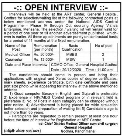 General Hospital Godhra Recruitment 2021 Medical Officer & Counselor Posts