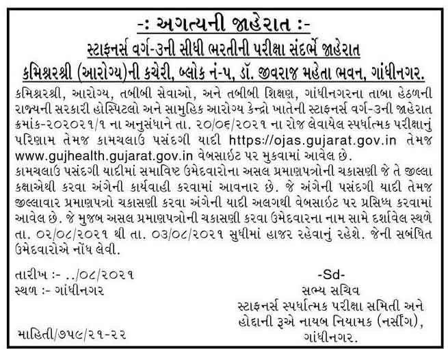 Gujarat Staff Nurse Result Declared - Check Now (advt-202021-1)