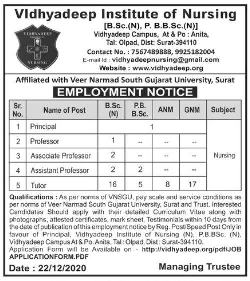 Vidhyadeep Campus Surat Recruitment 2021 54 Principal, Professor & Other Posts