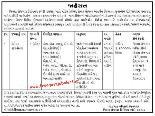 District Employment Exchange Office Valsad Recruitment 2021 Career Counselor Post