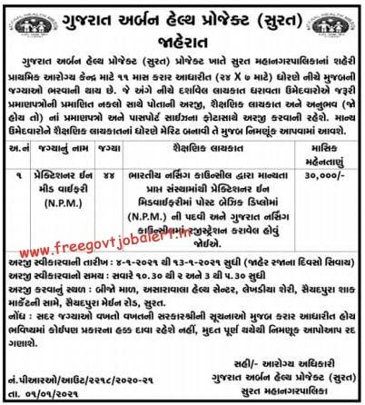 Gujarat Urban Health Project Surat Recruitment 2021 - 44- Practitioner in Midwifery
