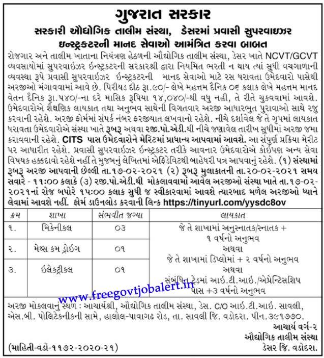 ITI Desar Recruitment 2021 -05 Pravasi Supervisor Instructor Posts