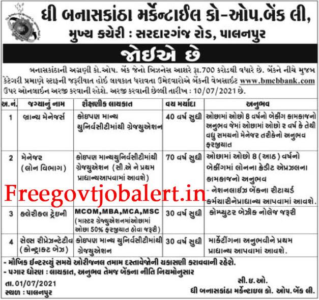 The Banaskantha Mercantile Co. Operative Bank Ltd Recruitment 2021-Branch Manager & Other Posts