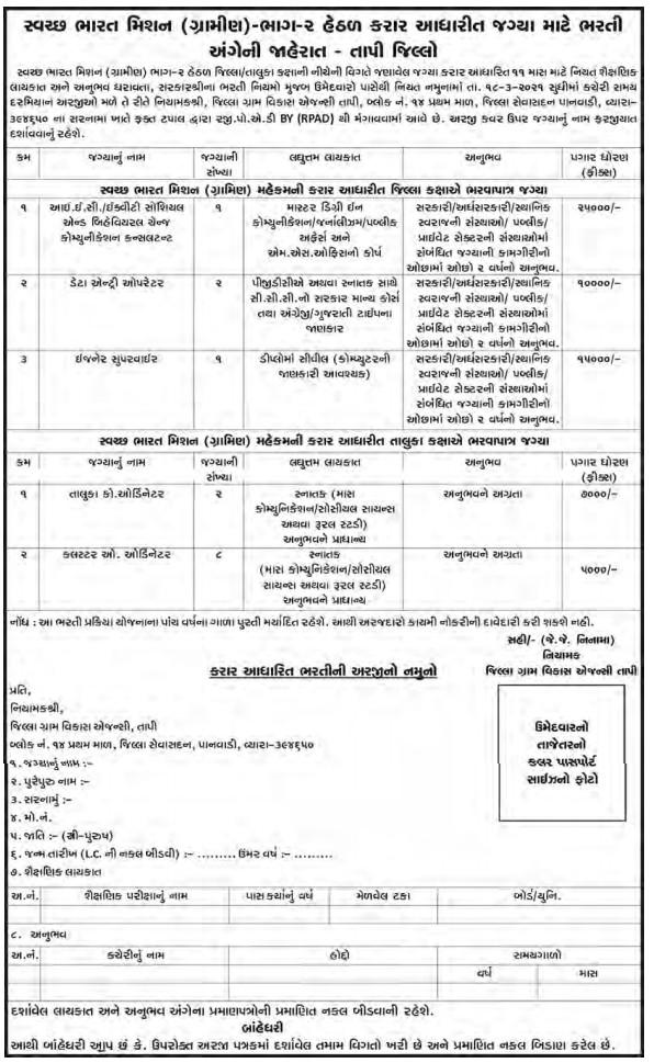 DRDA Tapi Recruitment 2021 - 14 Data Entry Operator, Taluka Block Coordinator & Other Posts