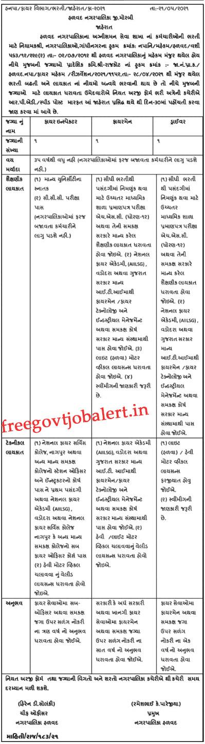 Halvad Nagarpalika Recruitment 2021 - Driver, Firemen & Fire Inspector Vacancy