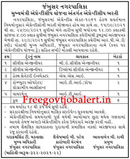 Jambusar Nagarpalika Recruitment 2021 - 06 Apprentice Bharti