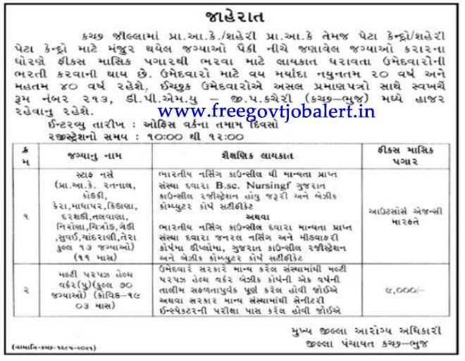 Kutch-Bhuj District Panchayat Recruitment 2021 - 83 Staff Nurse And MPHW Posts