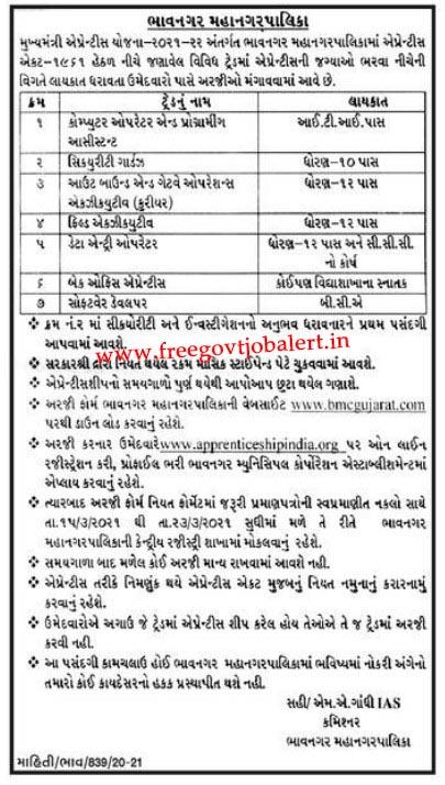 News For BMC Recruitment 2021 Apprentice Bharti in Bhavnagar
