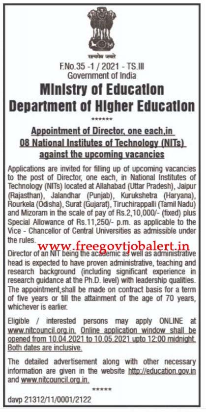 NIT Council Recruitment 2021 - 08 Director Posts