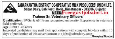 Sabarkantha District Co-operative Milk Producers Union Ltd Recruitment 2021- Sr. Veterinary Officers